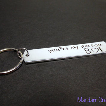 You're My Person Keychain with Initials and Heart, Hand Stamped Key Chain for Couples or Friends - Black Friday Cyber Monday SALE