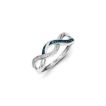 1/10 Ctw Blue & White Diamond Woven Sterling Silver Ring