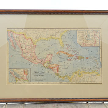 Original Hand Colored 1883 Map of Mexico Central America West Indies Framed