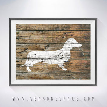 Dachshund 2 art illustration print,dog painting,Wall art,Rustic Wood art,Animal print,Home Decor,Animal silhouette,Greyhound print,dog print