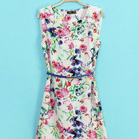 White Floral Chiffon Sleeveless Belted Shift Mini Dress