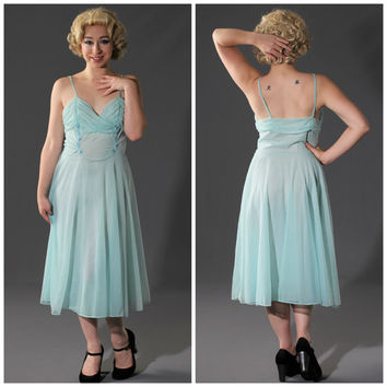 50s Vanity Fair Seafoam Mint Ballerina Nightgown // Gathered Bust, Knee Length, Floral Appliqué & Rhinestones // Pin Up Lingerie // Sz 34
