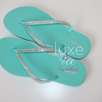 Flip flops made w Swarovski Elements. 2 Rows of crystals women's sizes 6-10 tiffany blue