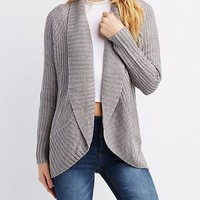 Shaker Stitch Open-Front Cardigan | Charlotte Russe