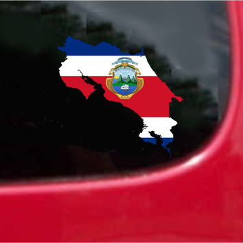 Costa Rica  Outline Map Flag Vinyl Decal Sticker Full Color/Weather Proof.