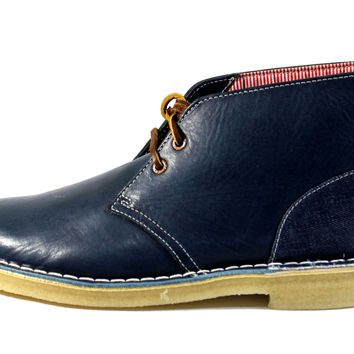 Clarks Original x Herschel Men's Desert Blue Leather Comfort Shoes