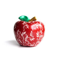 Red Apple: Hand Painted Ceramic Apple