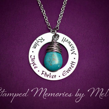 Mommy Necklace - Hand Stamped Stainless Steel Washer - Names and Turquoise Drop Pendant - Personalized Mother's Day Gift - Grandma Jewelry