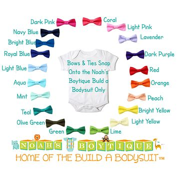 Baby Bow Ties for Noah's Boytique Build a Bodysuit - Snap On Bow Ties - Bow Ties for Babies - Bow Tie Outfit - Red - Blue - Green - Aqua