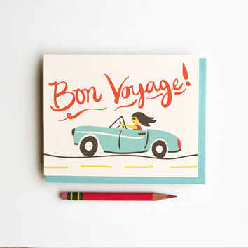 Bon Voyage travel moving illustration drawing retro vintage style calligraphy handwriting primary colors