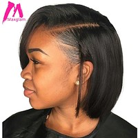 Maxglam Short Lace Front Human Hair Wigs Brazilian Remy Hair Bob Wig with Pre Plucked Hairline Bleached Knots Free Shipping