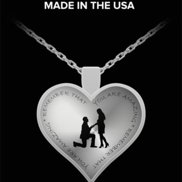 Husband to wife you are amazing heart pendant necklace anytime gift