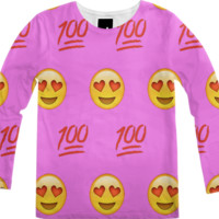 Pink/Emoji Long-Sleeve Shirt created by trilogy-anonymous | Print All Over Me