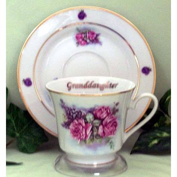 Granddaughter Personalized Porcelain Tea Cup (teacup) and Saucer