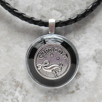capricorn necklace: black - mens necklace - man jewelry - astrology - boyfriend gift - zodiac - birthday gift - leather cord - unique gift
