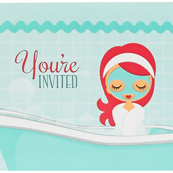 little spa party invitations Case of 4