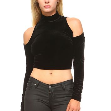 Women's Long Sleeve High Neck Cut Out Crop Top