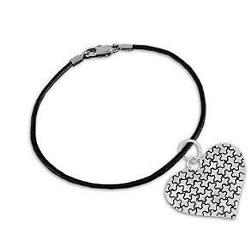 Autism Puzzle Piece Heart Charm on Black Cord Bracelet