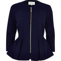 Navy textured jersey peplum jacket - jackets - coats / jackets - women