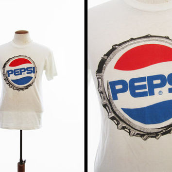 Vintage 80s Pepsi T-shirt Soft and Thin Bottle Cap Logo White Crewneck - Small / Medium