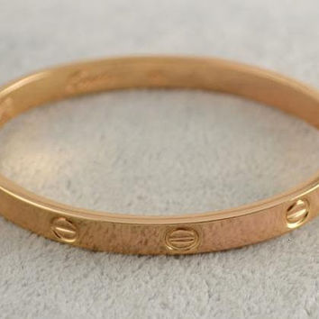 Love Screw Designer Inspired Bangle Bracelet - Rose Gold