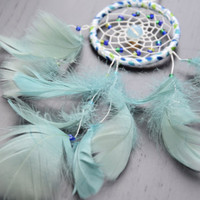 Teal Mini Car Dream catcher, Car Accessory, Rear View Mirror Charm, Gift Idea For Men/ Girls, Moonstone