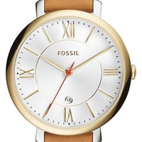 Women's Fossil 'Jacqueline' Round Leather Strap Watch, 36mm