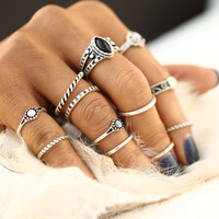 12pcs / sets Fashion Vintage Punk Midi Rings Set Antique Gold Color Boho Style Female Charms Jewelry Ring For Women JM0510