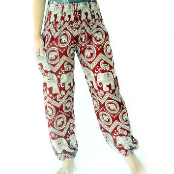 Red Elephant Comfy funky yoga pants harem pants ancient thai art design one size fits all elastic waist ankle for women