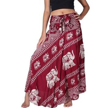 CREYCI7 Women Bohemian Hippie Red Skirt Elephant Print 2017 Summer Beach Long Skirt Vintage Maxi Skirts High Waist Tie up Skirts