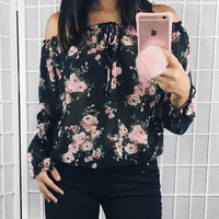 Syd Floral Off The Shoulder Top (Black)