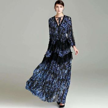 V Neck Star Floral Print Lace Maxi Dress Womens Pleated Long Dress