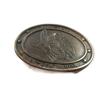 Vintage Belt Buckle with Bald Eagle and Arrow Symbol for American Bicentennial
