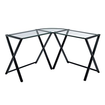X-frame Glass & Metal L-Shaped Computer Desk - Clear/Black