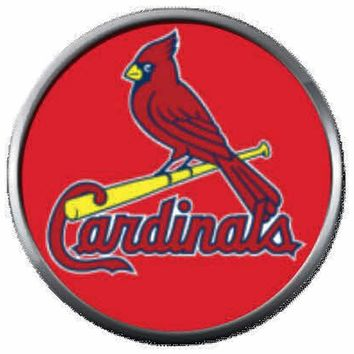 Bird On Red  MLB Baseball St Louis Cardinals Bat Logo 18MM - 20MM Snap Jewelry Charm New Item
