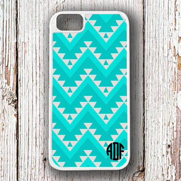 Chevron Iphone 4 case Aztec Iphone 5 case Tribal iPhone 5c case - Southwestern pattern turquoise - monogram fits iPhone 4/4s/5/5s/5c  (1312)