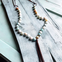 Frosted Amazonite Necklace with Long Fringe Tassel 227A