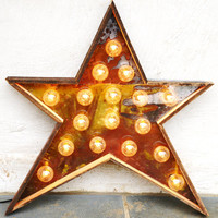 Star Light fixture metal sign reclaimed barn wood 24 inch diameter