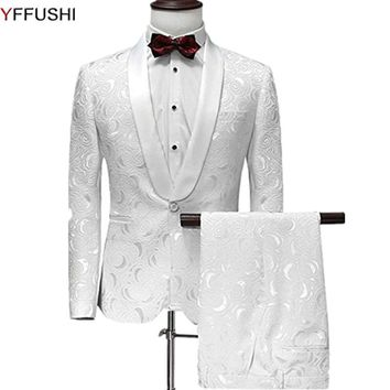 YFFUSHI Men Suit One Button 2 Pieces White Jacquard Suits with Pants Tuxedo Shawl Collar Wedding Suits for Men Party Dress