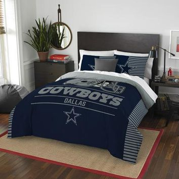 Dallas Cowboys NFL Draft Full/Queen Comforter & Shams Set
