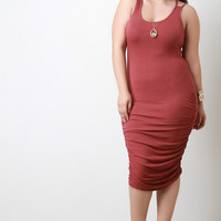 Knit Cinched Sleeveless Bodycon Midi Dress