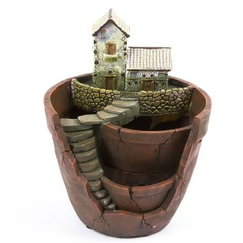 Plant Pot, Hgrope Mini Size Creative Fairy Garden Plant Containers, Hanging Garden Design with Sweet House for Flowers and Plants