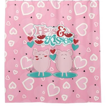 Hogs And Kisses Sweet Hearts Valentine Shower Curtain