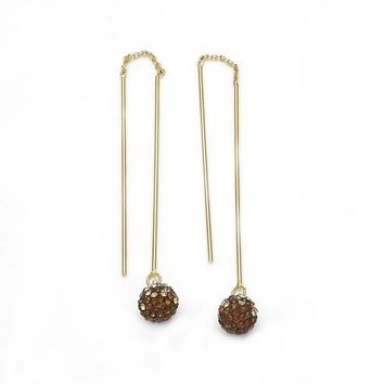 Gold Layered 5.120.001 Long Earring, Ball Design, with Brown and White Crystal, Gold Tone