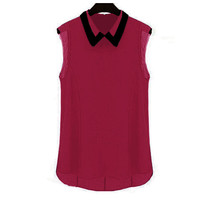 Wine Red Collared Sleeveless Chiffon Blouse