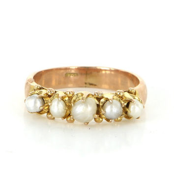 Vintage 18 Karat Rose Gold Cultured Pearl Stack Band Pinky Ring Fine Jewelry