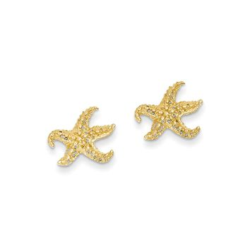 13mm Textured and Cutout Starfish Post Earrings in 14k Yellow Gold