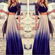 Spring Autumn Women Gradient Long Maxi Ankle-length Skirt Casual High Elastic Waist Skirts Vestidos