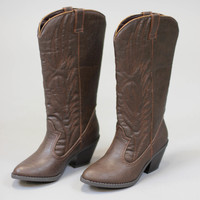 Muse Cowboy Boots - Brown