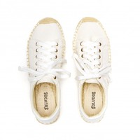 Soludos Bright White Canvas Platform Tennis Sneaker for Women - Soludos Espadrilles